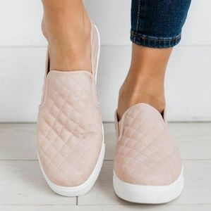 Blush Quilted slip on sneakers